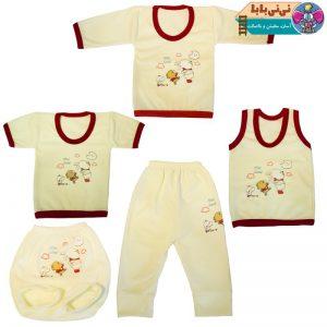 2443 300x300 - ست 5 تکه لباس نوزاد طرح خرگوش بازیگوش کد A1
