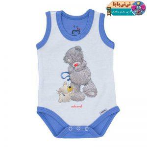 3748 300x300 - لباس زیر دکمه دار نوزادی آدمک طرح خرس پشمالو آبی