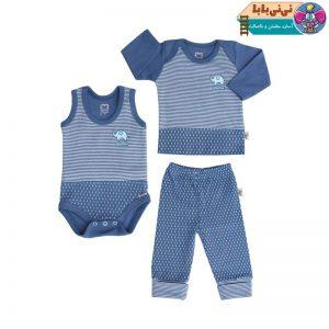 4294 300x300 - ست سه تکه لباس نوزادی پسرانه آدمک طرح فیل کوچولو